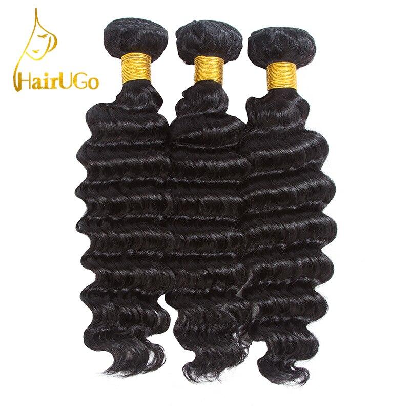 HairUGo Hair Pre-Colored 100% Human Hair 3 Bundles Mongolia Deep Wave Hair Weave Bundles 8-26Inch #1B color Hair Extensions