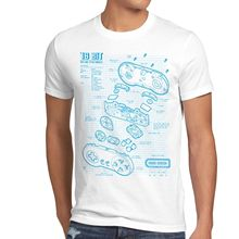 Controller 16 Bit Herren T-Shirt gamer snes spiel mario blaupause kart zelda boy Cotton Men T-Shirts Classical top tee