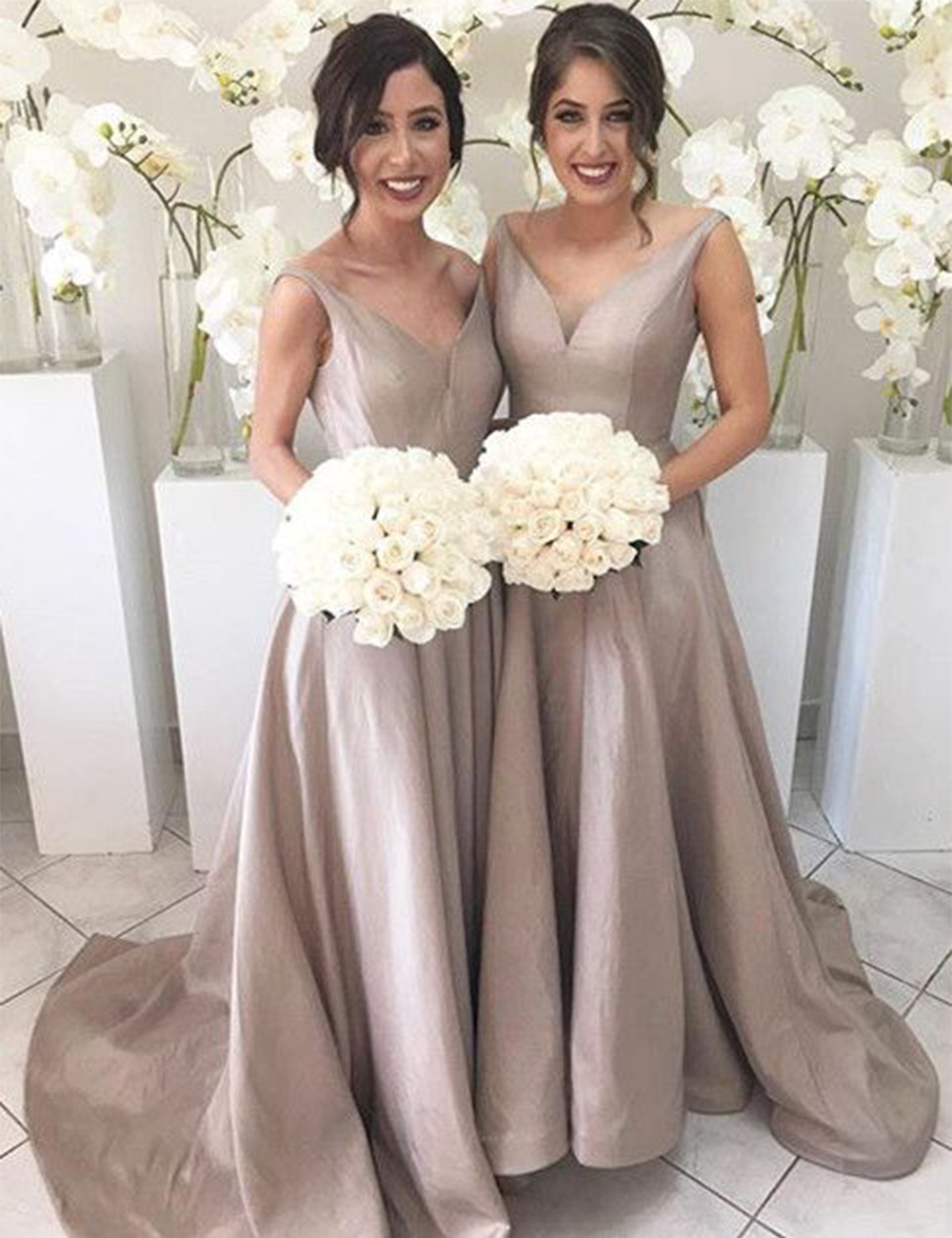 Fashion women champagne bridesmaid dresses sexy v neck satin fashion women champagne bridesmaid dresses sexy v neck satin bridesmaid dress long wedding party dress formal gowns b93 in bridesmaid dresses from weddings ombrellifo Images