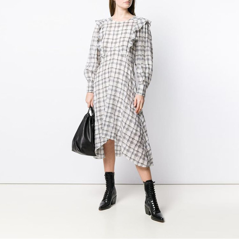 Grey Checked Print Midi DRESS Round Neck Front Ruffles Trim Long Puff Sleeved Woman high quality