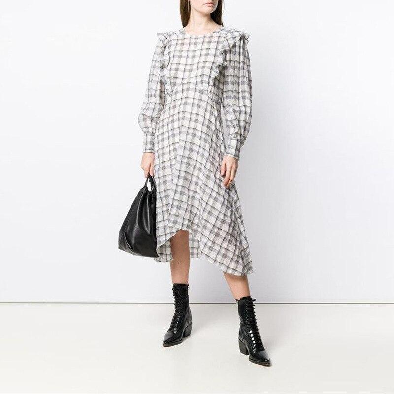 グレーチェック印刷ミディドレスラウンドネックフロントフリルトリムロングパフ女性高品質ドレス  グループ上の レディース衣服 からの ドレス の中 1