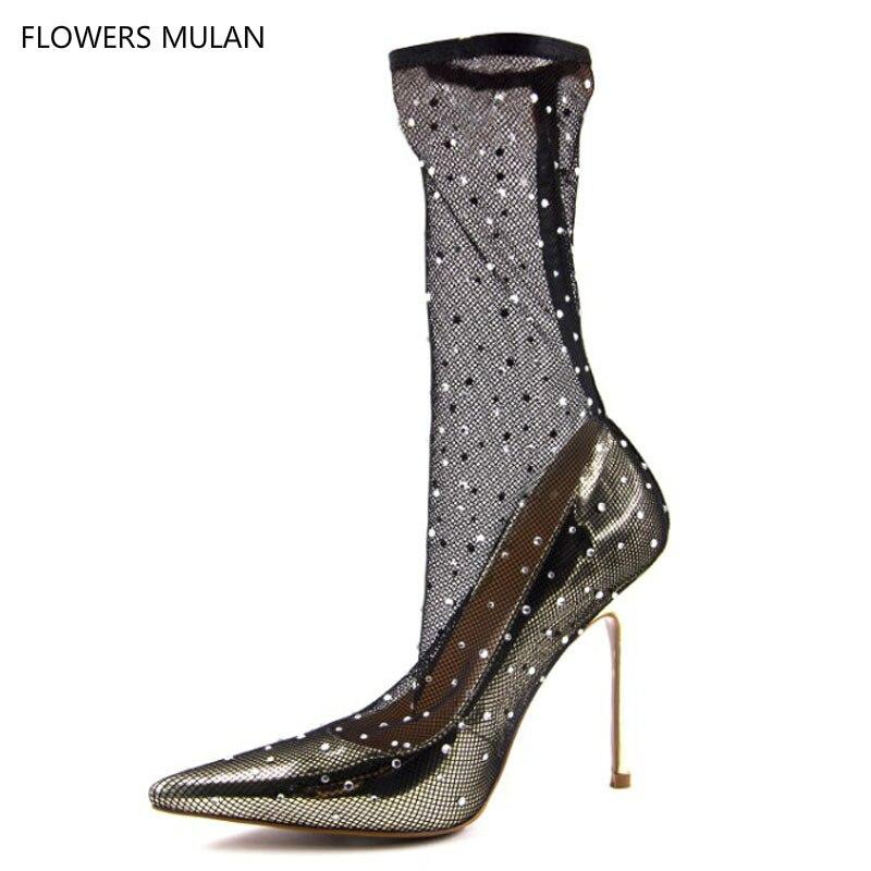 Nouveau Sexy noir dentelle pompes Patchwork cheville chaussures chaussette bottes Transparent brillant paillettes femmes talons hauts fête robe chaussures or