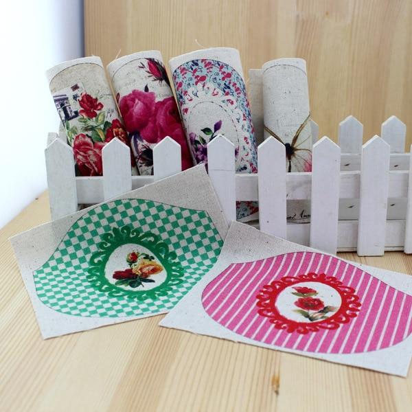 Retro style Cotton Linen Hand dyed painting Digital Printed Fabric 8.5CM purse frame cut-parts DIY Handmade ZAKKA Patchwork