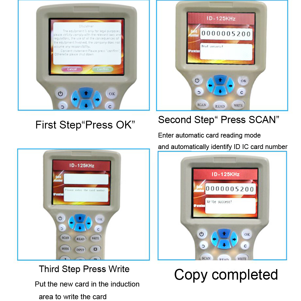 US $44 3 |Aliexpress com : Buy LUCKING DOOR full frequency RFID Copier ID  IC Reader Writer copy M1 13 56MHZ Duplicator Copier+10pcs ID Card IC Card