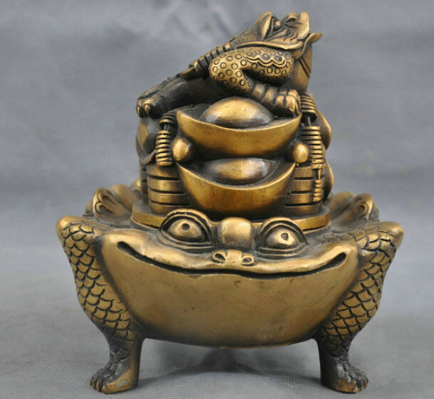 6'' China Bronze Yuanbao Money Coin Toad Hoptoad Statue Incense Burner Censer R0712