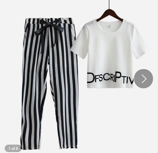 2019 de las mujeres de la moda de verano de manga corta carta impresión pantalón a rayas trajes de 2 piezas conjuntos traje