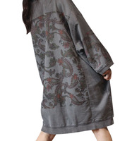 YESNO YQ7 Women Ethnic Floral Sweatshirts Jacket Plus Size Crew Neck/Pockets