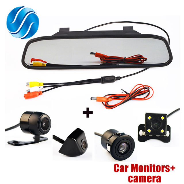 4.3Inch Auto Parking System HD Car Rearview Mirror Monitor with 170 degrees Waterproof Car rear view camera FREE SHIPPING