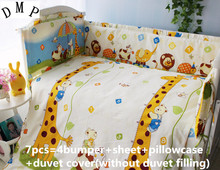 Discount! 6/7pcs Baby bedding set crib bedding set cot set Fitted Bed Sheet Duvet Cover ,120*60/120*70cm