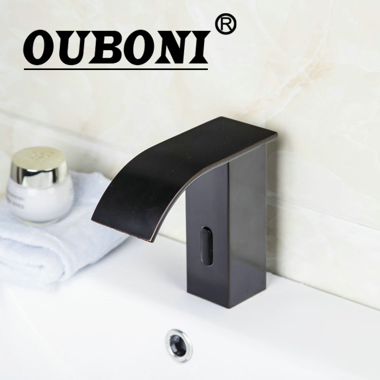 OUBONI Automatic Sensor Bath Faucet Bathroom Basin Sink Faucet Oil Rubbed Bronze Water Mixer Tap Touch-Free Infrared Basin Tap