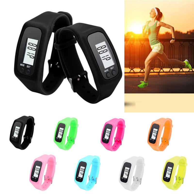 Digital LCD Silicone Display LCD Pedometer Running Exercise Fitness Walking Distance Calor