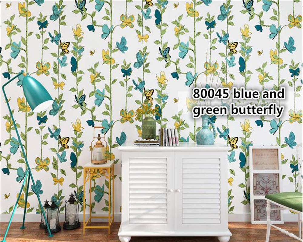beibehang Nordic wallpaper nonwovens pure paper butterfly flying papel de parede wall paper living room sofa bedroom background in Wallpapers from Home Improvement