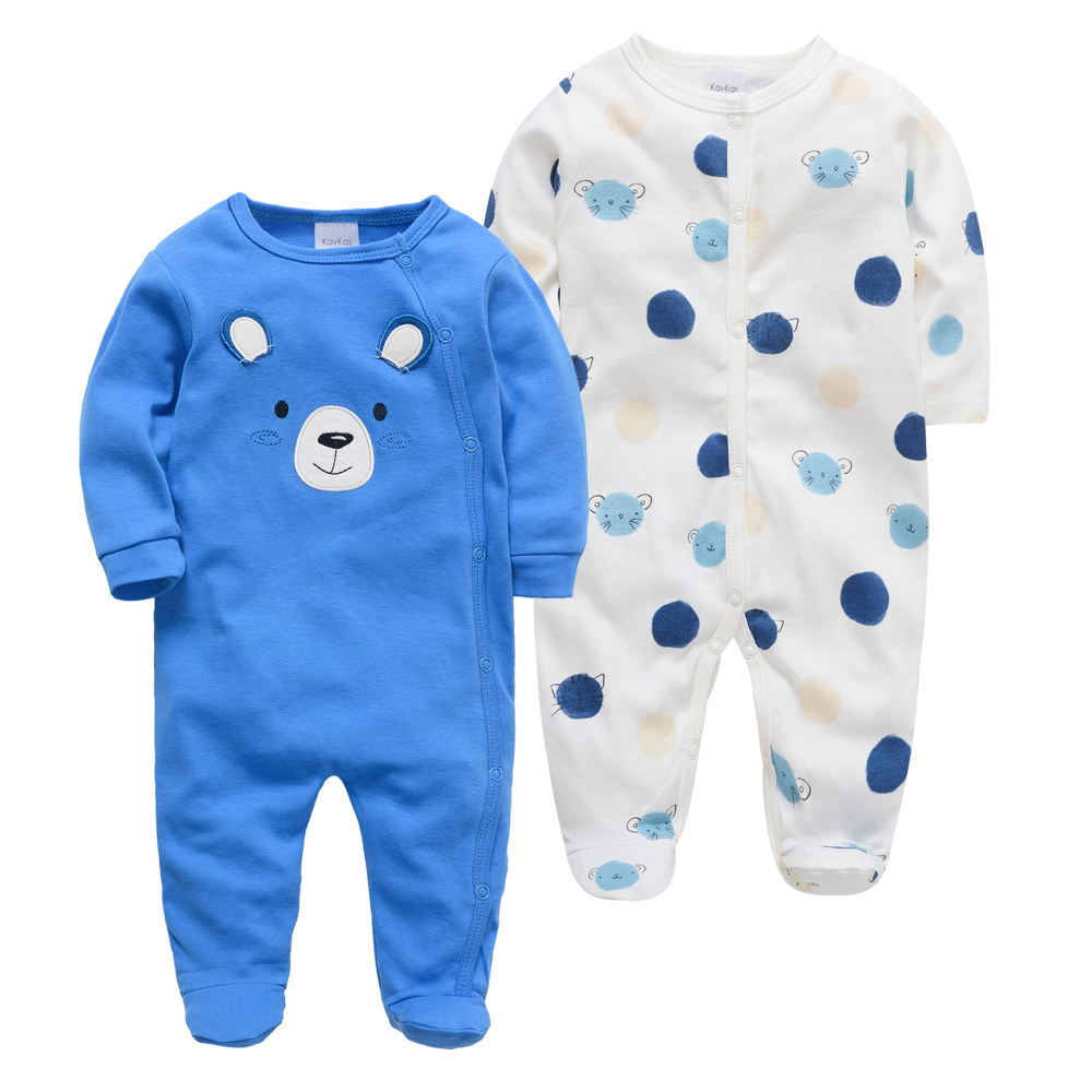 Kavkas 2PCS Brand Baby   Romper   Long Sleeves 100% Cotton Baby Pajamas Bear Cartoon Printed Newborn Baby Boys Clothes vestidos muje