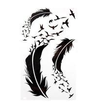 Black Feathers Water Transfer Flash Fake Tattoo Sticker Sex Products Waterproof Temporary Tattoo Sticker The Wind Wind Blown