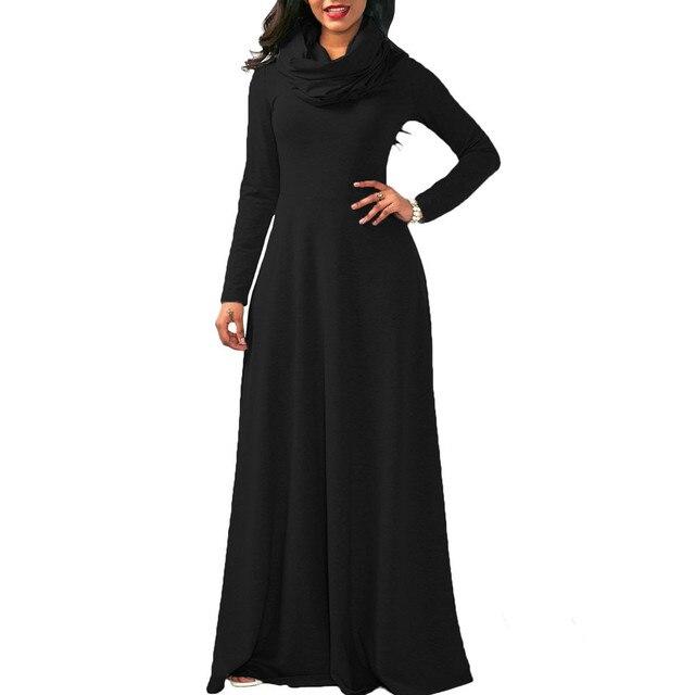 Creative Design Women Scarf Collar Long Sleeve Dress evening Party Wear Long  Maxi Dress plus size women clothing 301a4e8aa92d