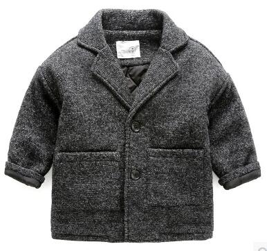 wool coat for boys new 2017 autumn and winter woolen trench coat cotton winter baby jacket