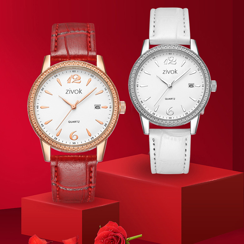 zivok Fashion Wrist Women Horloges Rood Lederen Dames Lovers Horloge - Dameshorloges