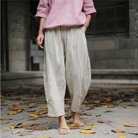ORIGOODS Vintage Linen Harem Pants Women Elastic waist Loose Summer Pants Brand Original design Linen Women Harem Trousers D014
