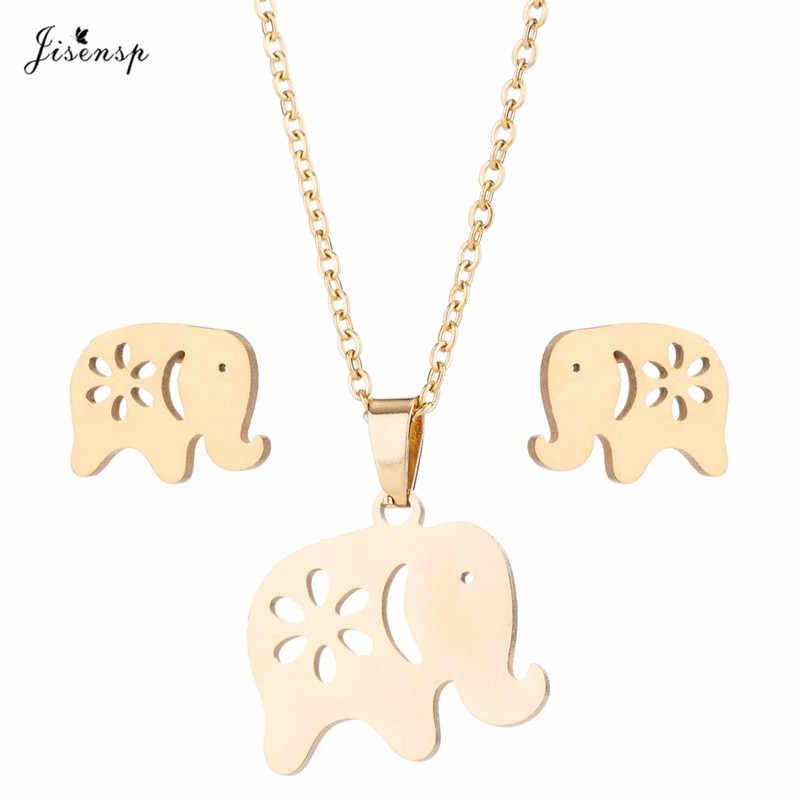 Jisensp Collares Vintage Elephant สร้อยคอผู้หญิงจี้เครื่องประดับสร้อยคอยาวสร้อยคอ Lucky ชุด erkek kolye