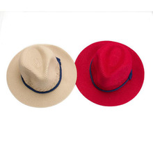 2015 Fashion Women Wide Large Brim Floppy Summer Beach a Sun hat Straw Hat button Cap summer Rope hats for women Free Shipping