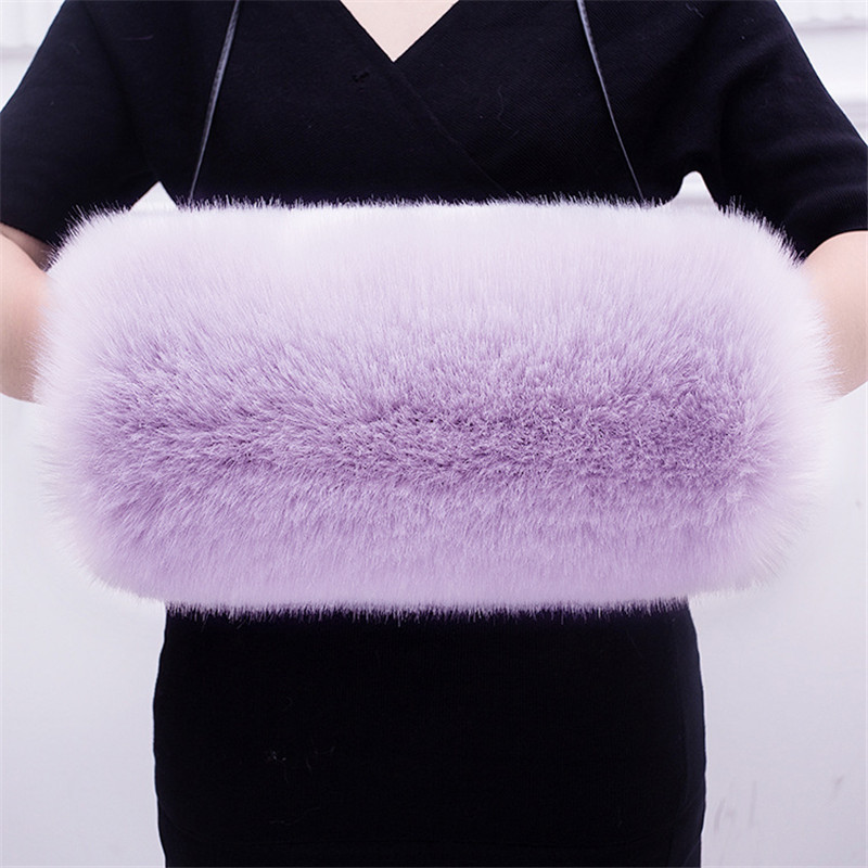 Trend Mark Luxury Faux Fur Winter Warm Multicolor Fox Fur Fleece Lining Thicken Hand Wrist Hand Warmer Large Size Fur Gloves 6q2397 Soft And Light Apparel Accessories