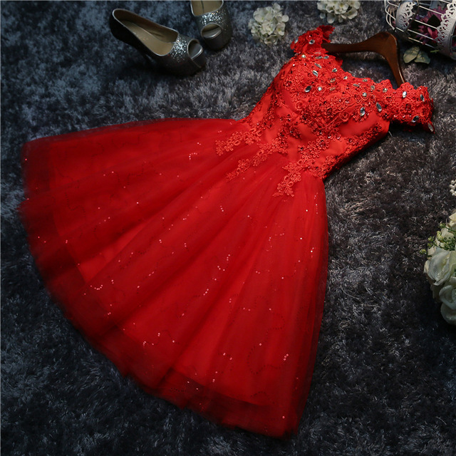 Vestidos Verano Sweety A-line Evening Dress Short Boat Neck Banquet Evening Gown Party Dress Vestido Rojos Elegantes C