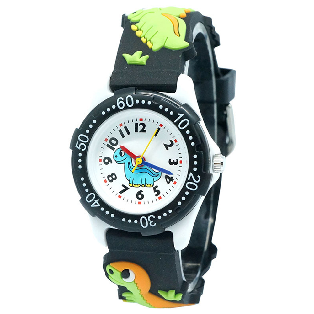Plastic Quartz Movement Round Dinosaur 3D Cartoon Pattern 30M Waterproof Kids Children Dial Analog Watch