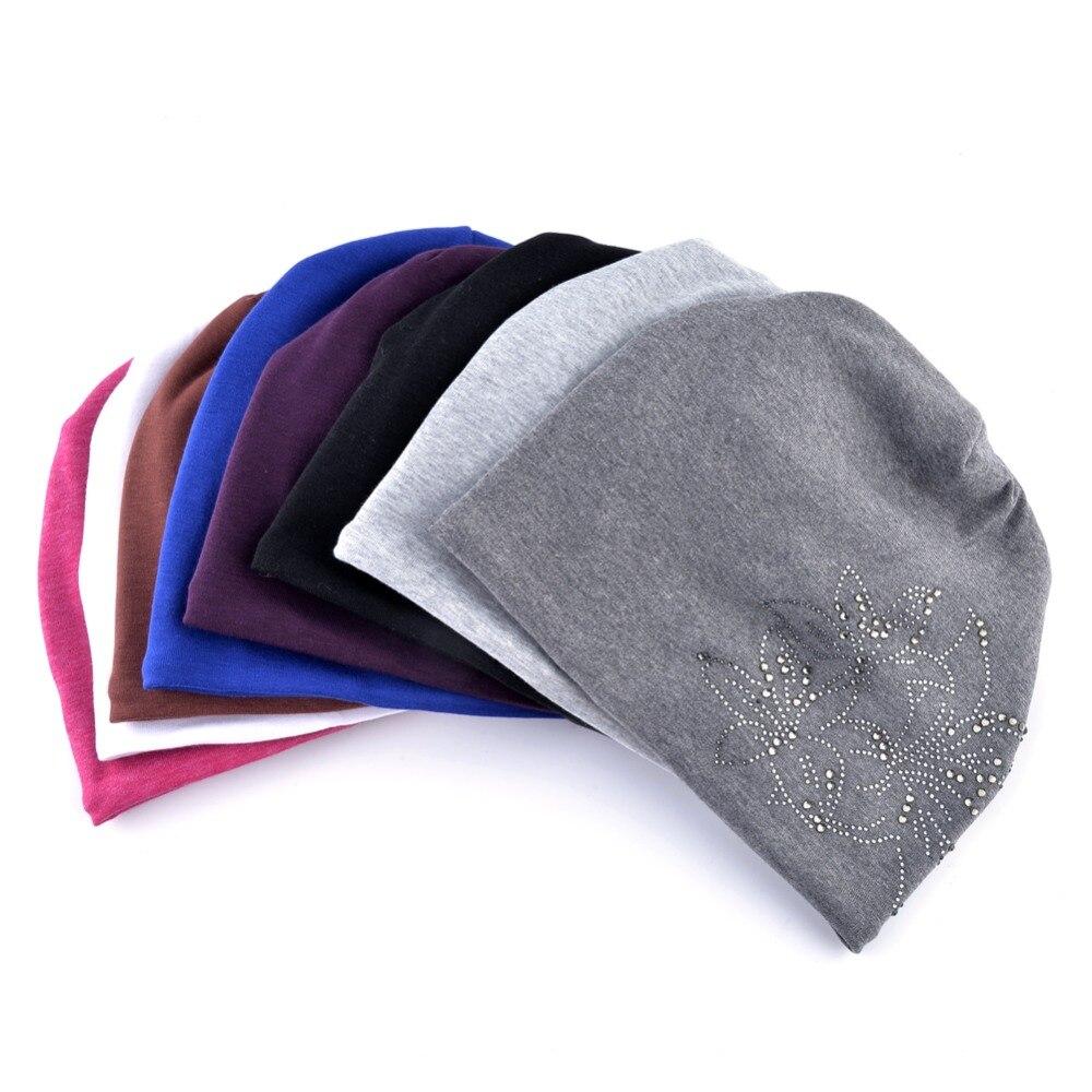 Female Beanie Bonnet Autumn And Winter Caps Hip-hop Cap Flower Rhinestone Hats For Women Beanies Balaclava Womens Skullies 5