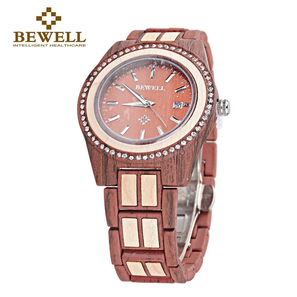 BEWELL 1052A 2018 сплав деревянные часы Для женщин Роскошные круглый Кварцевые наручные часы для Для женщин с календарем Авто Дата наручные часы