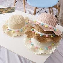 Летняя дышащая Солнцезащитная модная Милая разноцветная мужская соломенная шляпа с кисточками для маленьких девочек, винтажная пляжная шляпа для девочек