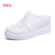 Women Mesh Casual Shoes Flat Platform Wedge Height Increasing 7CM Hollow Hole Breathable Sneakers Slippers 2019
