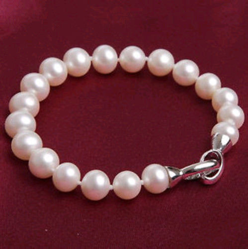 New fashion free shipping natural 9-10mm round freshwater cultured pink pearl bracelets wholesale price jewelry 7.5inch BV339