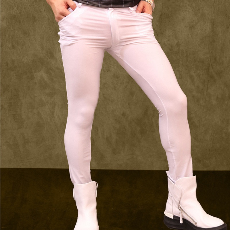 Korean Style Men Lycra High-Stretch Leggings Club Skinny Boots Pants Hairstylist Tight Leg Trousers Fad Slim Shape Pencil Pants