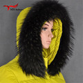 raccoon fur collars down jacket black hat fur scarf natural raccoon fur collar