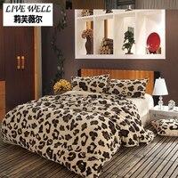 Leopard Flannel Duvet Cover Set Queen Size Fleece Duvet Cover Soft Bedclothes Duvet Cover Quilt Cover+Bed Sheet+Pillow Case 6pcs