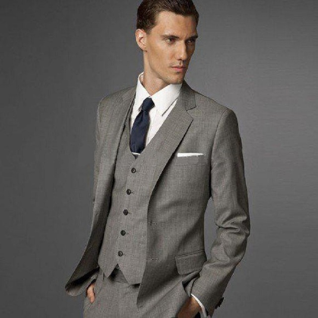 2017 Costume Clic 3 Pieces Dark Grey Mens Wedding Suit Slim Groom Wear Tuxedos Bridegroom Prom