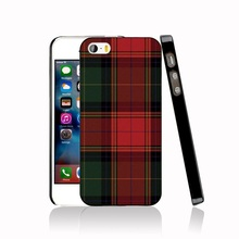 07287 RED BLUE TARTAN SCARF FASHION Cover cell phone Case for iPhone 4 4S 5 5S SE 5C 6 6S 7 Plus