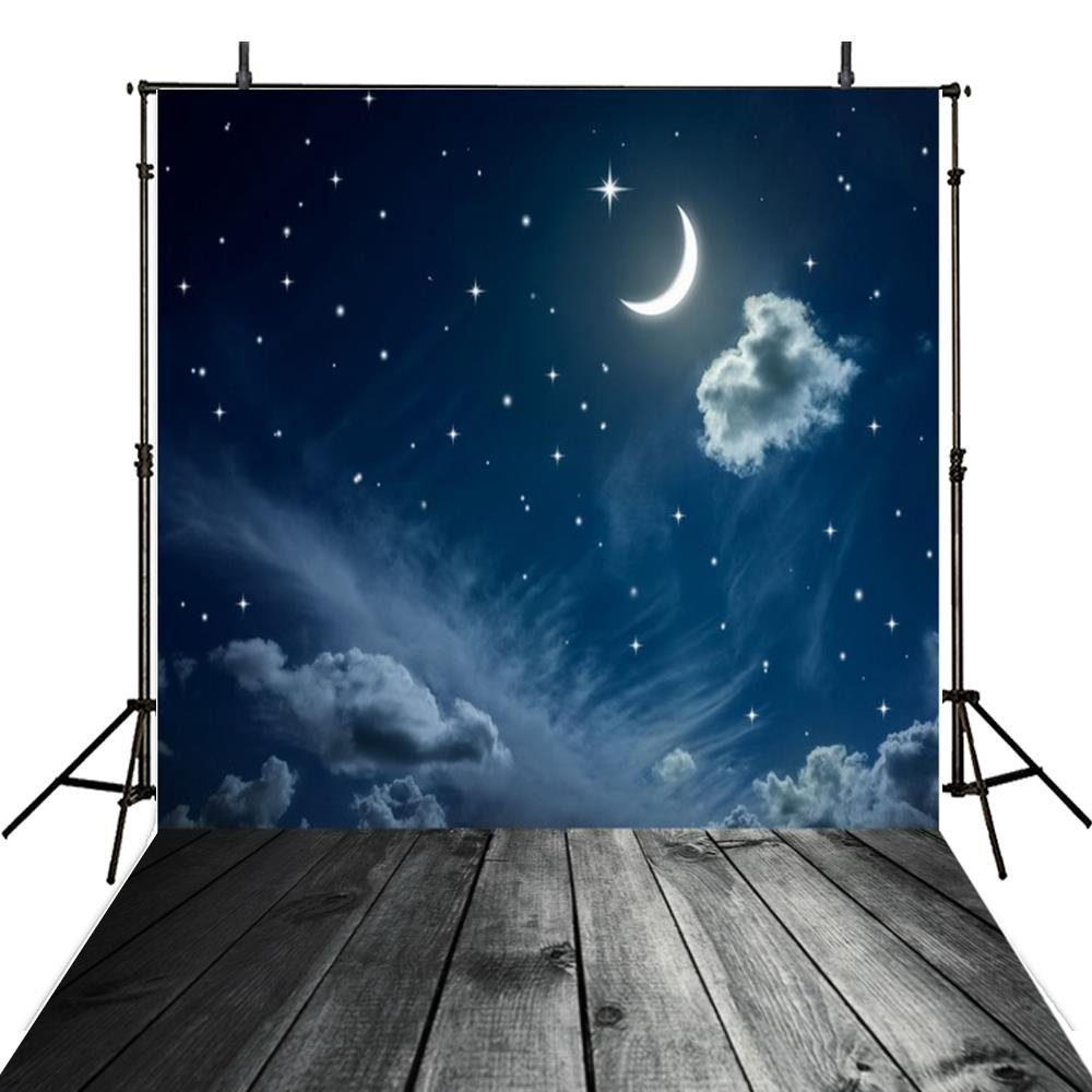 Night Sky Moon Cloud Star Photography Backgrounds Vinyl cloth Computer printed Wooden backdrops