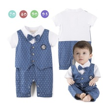 Blau Dot Baby Jungen Strampler Smoking Gentleman Kostüm Baby Overalls Jacke Weste Baumwolle Jungen Kleidung Outfits Neugeborenen Abendkleid
