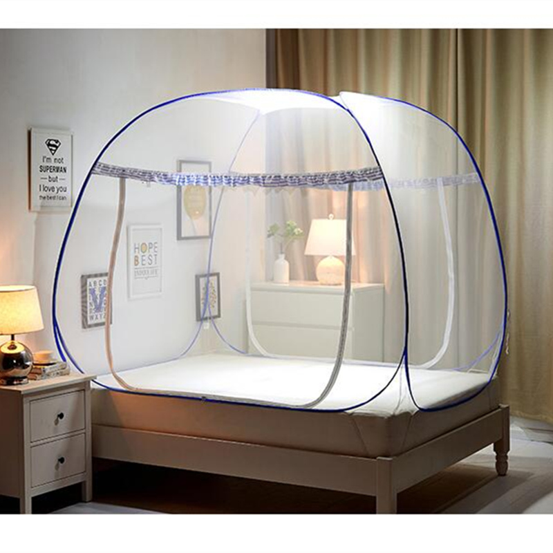 New pink blue coffee portable mosquito net for double bed - Bed canopies for adults ...