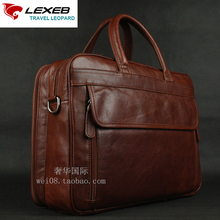 LEXEB Brand Men's Briefcases Solid Genuine Leather Business Travel Bags 15.6″ Laptop Double Zippers Design High Quality Brown