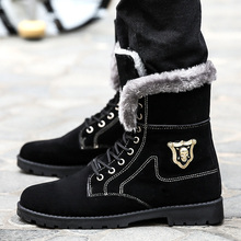 Hip Hop zapatillas Winter Boots Bota Masculina  Ankle motorcycle oxfords Men Warm fur wing tip brogue Snow boots Men's Winter