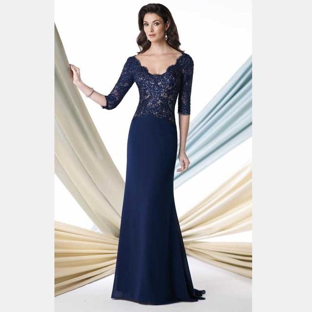 Элегантный длинные a-line три четверти рукава бисера кружева вечернее платье вечерние платья 2017 мать невесты платья