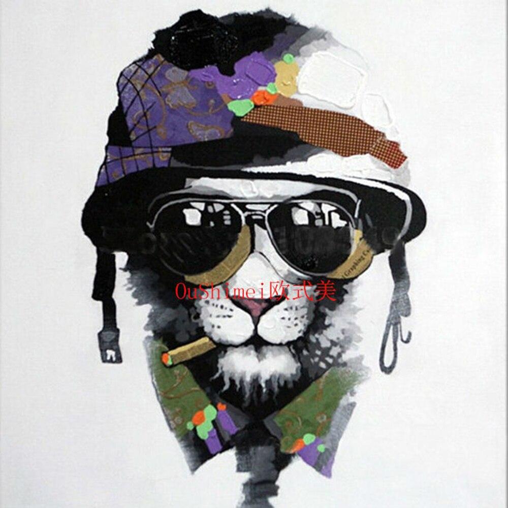 Peint la main dessin anim Animal Art peinture moderne chapeau Pet chien fumer avec des lunettes