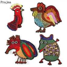 Prajna Cartoon Cock Beaded Patches Sewing On Embroidered For Clothing Accessories Animal Badge T-shirt Clothes Decor