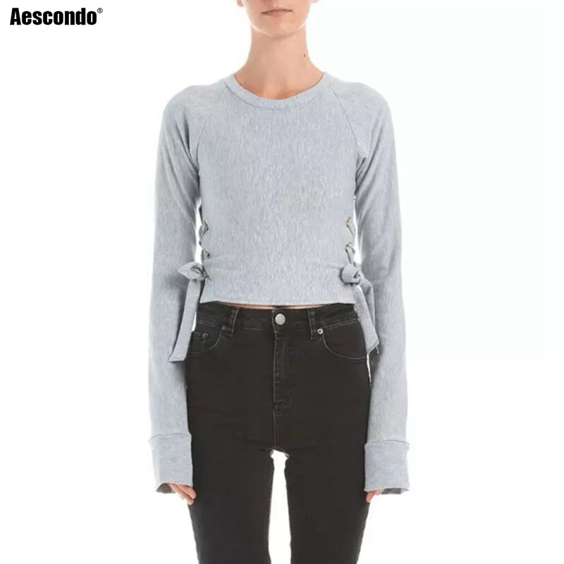 Aescondo New 2017 Spring Lace Up Slim Fit Short Sweatshirt Woman European Fashion Crop Tops Sweat Suits Moletom Feminino