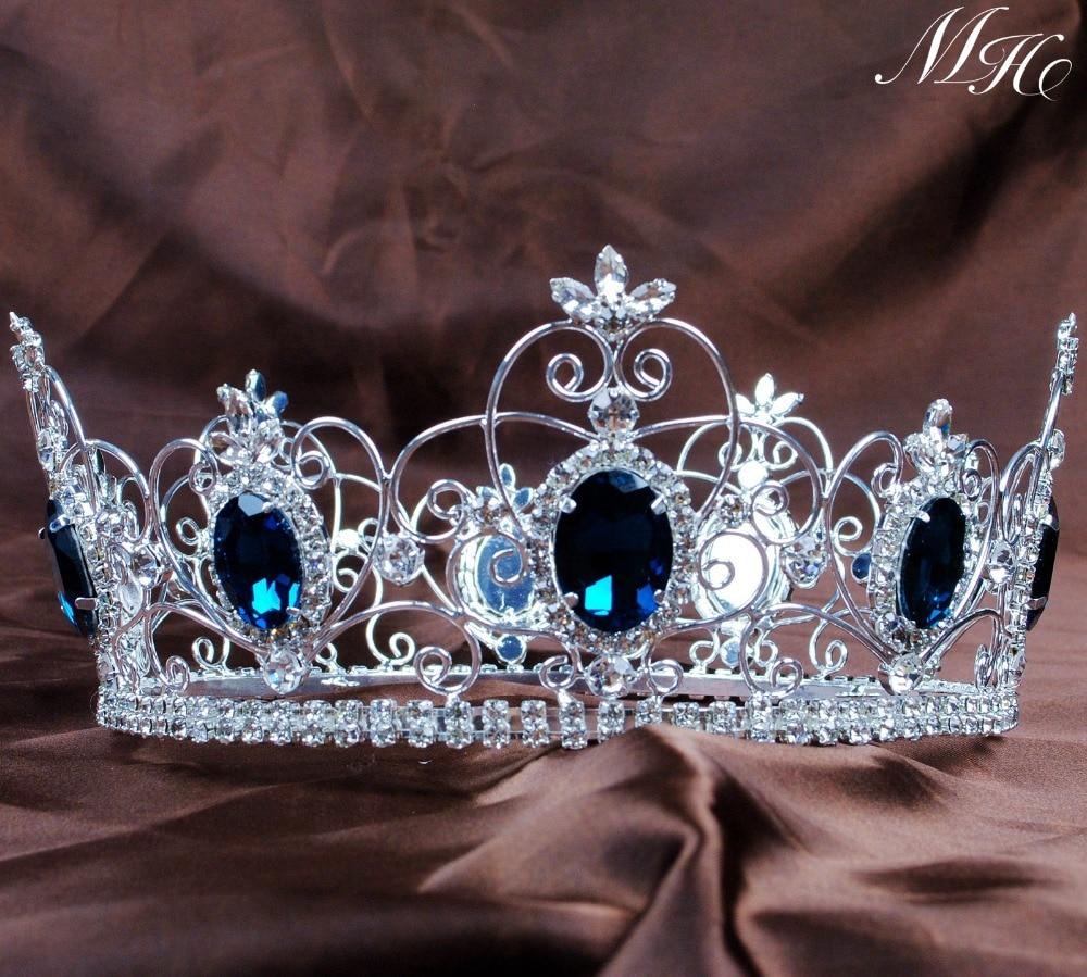 Crowns full circle round tiaras rhinestones crystal wedding bridal - Blue Crystal King Prince Tiaras Crowns 3 5 Unisex Full Round Hair Jewelry Clear Rhinestone Pageant