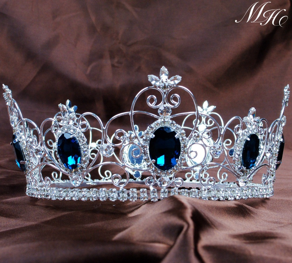 Crowns full circle round tiaras rhinestones crystal wedding bridal - Aliexpress Com Buy Blue Crystal King Prince Tiaras Crowns 3 5 Unisex Full Round Hair Jewelry Clear Rhinestone Pageant Party Costumes Art Deco From