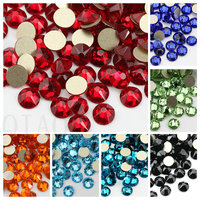 6Colors SS16 16 Cut Faces Non Hotfix FlatBack Crystal Glass Glue On Rhinestone For Garments