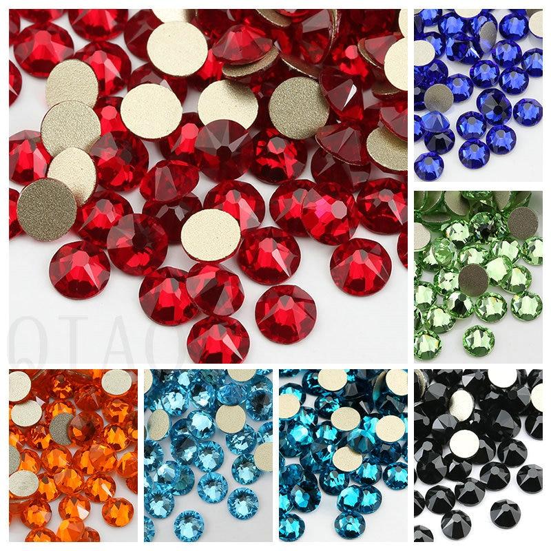 6 Цвета SS16 (16 скошенными) горячей фиксации, плоская задняя часть, с украшением в виде кристаллов Стекло клея на Стразы с плоским дном для одеж...